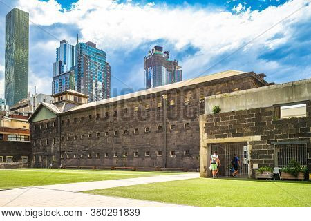 Facade Of Old Melbourne Gaol In Victoria, Australia