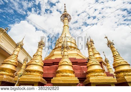 Group Of Golden Pagoda On The Highest Peak Of Mount Popa An Ancient Volcano And Home Of