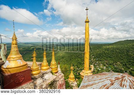 Buddhist Temple And Spectacular View From The Highest Peak Of Mount Popa An Ancient Volcano And Home