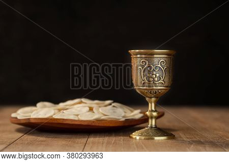 Holy Communion On Wooden Table On Church.