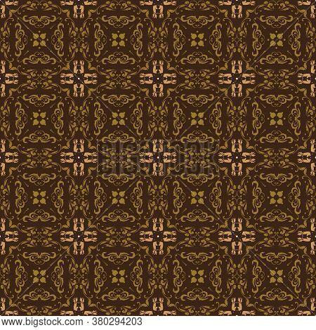 Bantul Batik Flower Vintage Motifs With Olive Brown Color Design.