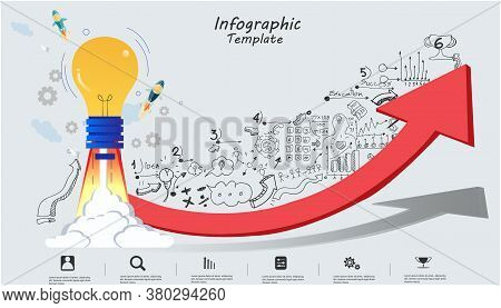 Light Bulb Think Analyze Creative Work,flat Design Illustration Creativity Modern Idea And Concept V