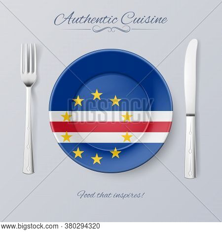 Authentic Cuisine Of Cape Verde. Plate With Flag And Cutlery