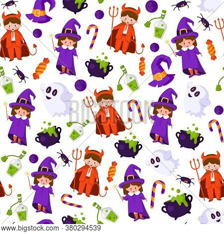 Halloween Cartoon Seamless Pattern - Kids In Halloween Costumes Of Devil And Witch, Scary Creepy Gho