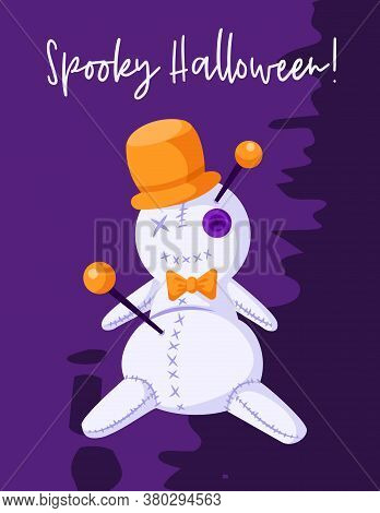 Halloween Cartoon Greeting Card Or Nursery Poster - Creepy Voodoo Doll In Orange Hat On Dark Violet