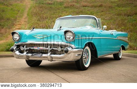 Westlake, Texas - October 21, 2017: Front Side View Of An Aqua Color 1957 Chevrolet Bel Air Converti