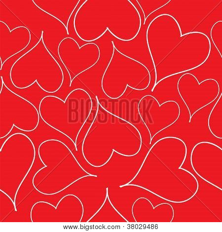 Seamless pattern with read hearts