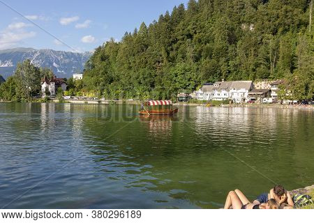 Bled, Slovenia - August 15, 2019: Guests And Residents Of Bled Relax On The Lake