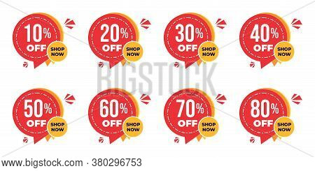Set Of Sale Tag Vector Badge Template, 10%, 20%, 30%, 40%, 50%, 60%, 70% And 80% Sale Label Collecti