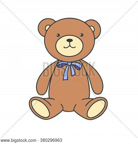 Plush Bear Toy Isolated On White Background. Vector