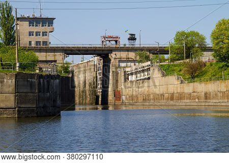 Gateway In The Svetlovodsk Hydroelectric Power Plant On The River Dnieper, Ukraine