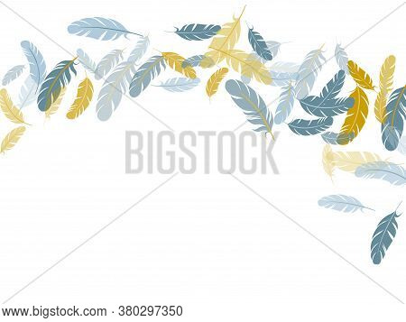 Romantic Silver Gold Feathers Vector Background. Decorative Confetti Of Festive Plumelet. Fluffy Twi