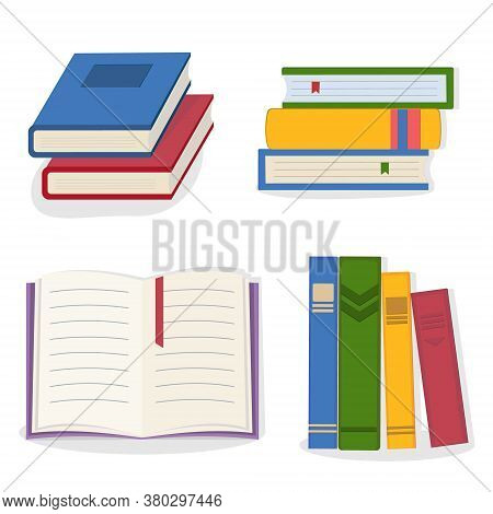 Set Composition Of Books That Are Standing, Stack Of Books, Open Book, Color Vector Illustration In