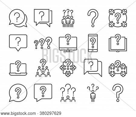Question Icon. Searching Of Answers To Questions Line Icons Set. Editable Stroke.