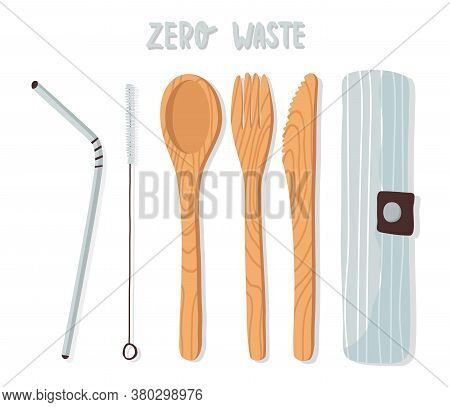 Wooden Cutlery Set, Bamboo Crockery, Spoon, Fork, Knife, Reusable Metal Drinking Straw And Brush In