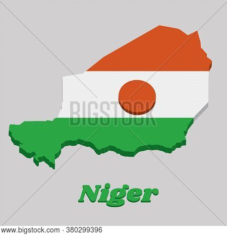 3d Map Outline And Flag Of Niger, A Horizontal Triband Of Orange White And Green; Charged With An Or