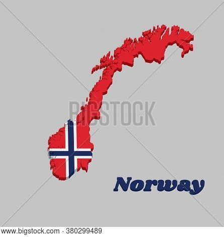 3d Map Outline And Flag Of Norway, A White-fimbriated Blue Nordic Cross On A Red Field, With Name Te