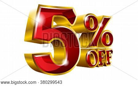 5% Off - Five Percent Off Discount Gold And Red Sign. Vector Illustration. Special Offer 5 % Off Dis
