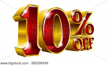 10% Off - Ten Percent Off Discount Gold And Red Sign. Vector Illustration. Special Offer 10 % Off Di