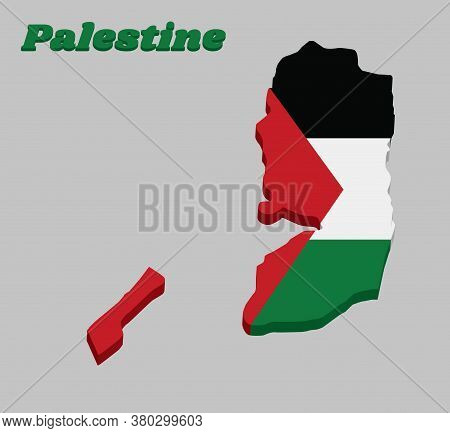 3d Map Outline And Flag Of Palestine, A Horizontal Tricolor Of Black White And Green; With A Red Tri