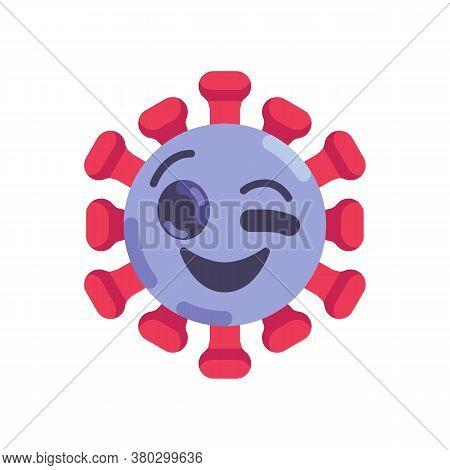 Winking Eye Coronavirus Emoticon Flat Icon, Vector Sign, Virus Winking Face Emoji Colorful Pictogram