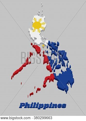 3d Map Outline And Flag Of Philippines, A Horizontal Bicolor Of Blue And Red; With A White Equilater