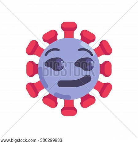 Coronavirus Emoticon Flat Icon, Vector Sign, Virus Smirking Face Colorful Pictogram Isolated On Whit