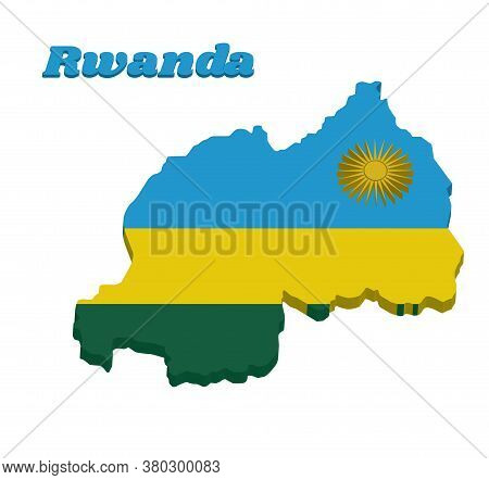 3d Map Outline And Flag Of Rwanda, A Horizontal Tricolor Of Blue, Yellow And Green With A Yellow Sun