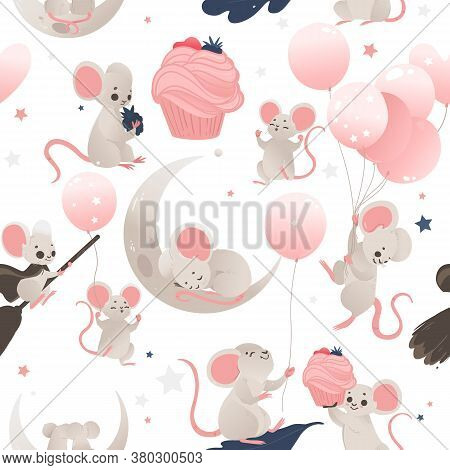Seamless Pattern With Cute Baby Mouse And Baloons, Flat Cartoon Vector Illustration.