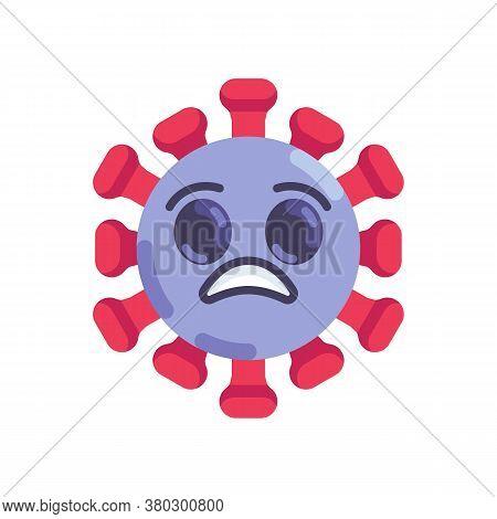 Shocked Coronavirus Emoticon Flat Icon, Vector Sign, Anguished Virus Face Colorful Pictogram Isolate