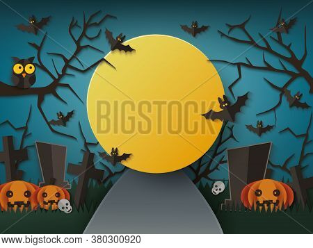 Halloween Poster Or Banner With Moon Night On Graveyard Vector Illustration.