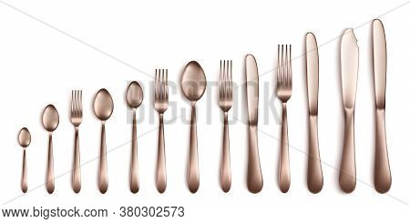 Set And Collection Of Realistic Cutlery In Dark Silver Or Bronze.