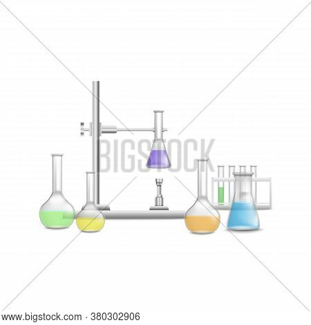 Medical, Pharmacy Laboratory Flasks And Beakers Vector Illustration Isolated.