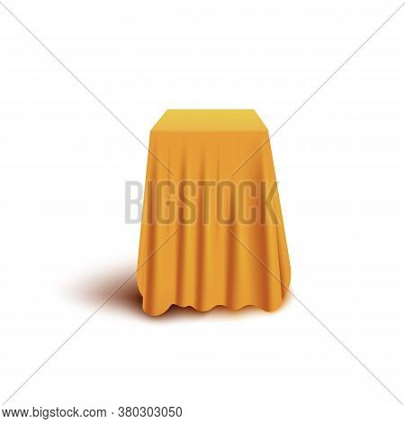 Yellow Curtain Cover Hiding Cube Shape Object Isolated On White Background