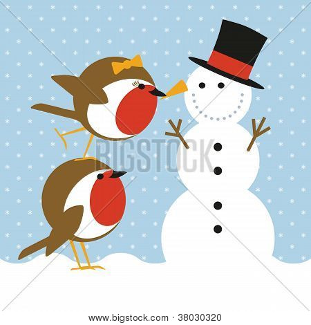 Robins And Snowman