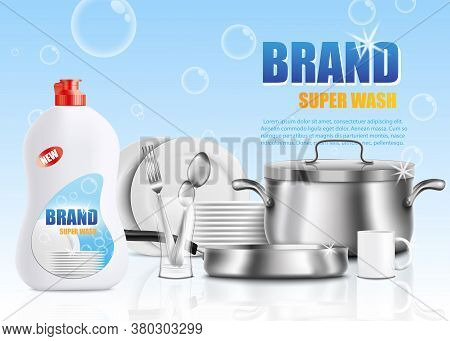 Dish Soap Brand Ad Poster Template - White Plastic Bottle Of Dish Detergent