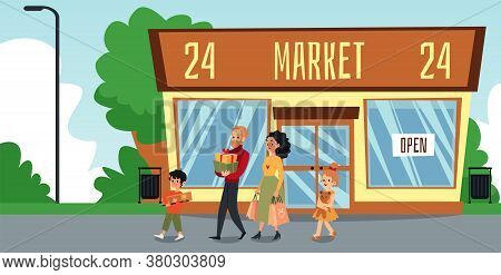 Cartoon Family Outside Of 24 Hour Market Building With Shopping Bags And Gifts
