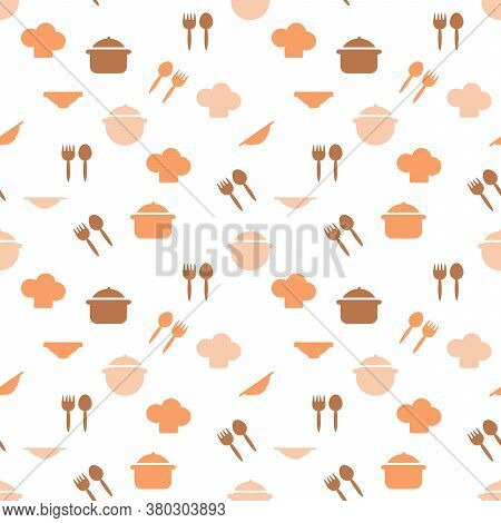 Seamless Pattern Of Kitchen Utensils Symbols, Pot, Plate, Fork, Spoon. Hand Drawn Background For Wit