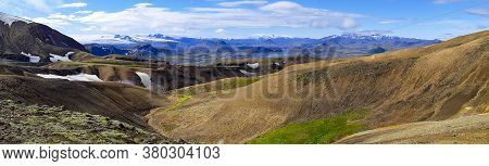 Panorama Icelandic Landscape At Fjallabak, On The Laugevegur Hiking Trail. Travel And Tourism In Ice