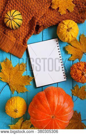 Thanksgiving . Autumn Mock Up.autumn Flat Lay. Blank Notebook,brown Sweater, Pumpkin Yellow Set And