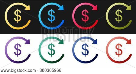 Set Refund Money Icon Isolated On Black And White Background. Financial Services, Cash Back Concept,