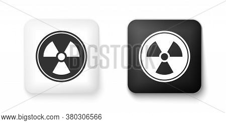 Black And White Radioactive Icon Isolated On White Background. Radioactive Toxic Symbol. Radiation H