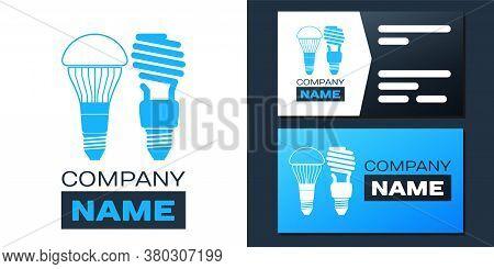 Logotype Economical Led Illuminated Lightbulb And Fluorescent Light Bulb Icon Isolated On White Back
