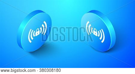 Isometric Wifi Locked Sign Icon Isolated On Blue Background. Password Wi-fi Symbol. Wireless Network