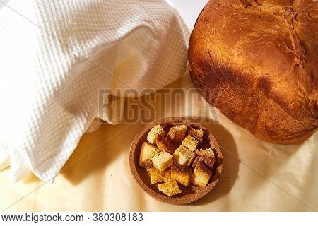 Square Toasted Pieces Of Homemade Delicious Rusk, Hardtack, Dryasdust, Zwieback And Bread On A White