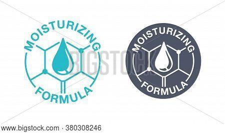 Skin Moisturizing Formula Emblem - Anti-age And Anti Wrickles Cosmetics Marking - Water Drop Locked