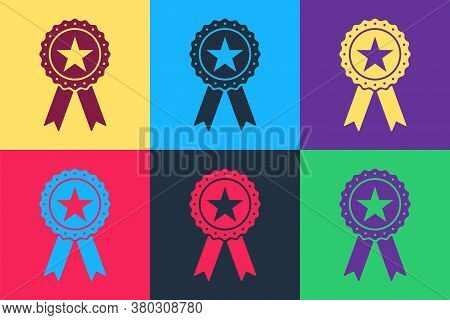 Pop Art Award Medal With Star And Ribbon Icon Isolated On Color Background. Winner Achievement Sign.