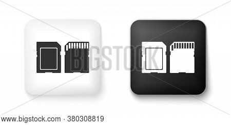 Black And White Sd Card Icon Isolated On White Background. Memory Card. Adapter Icon. Square Button.