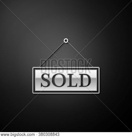Silver Sold Icon Isolated On Black Background. Sold Sticker. Sold Signboard. Long Shadow Style. Vect