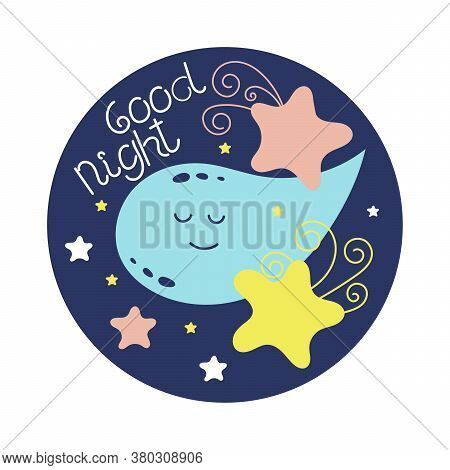 Good Night. Cute Doodle, Moon And Stars. Vector Illustration.